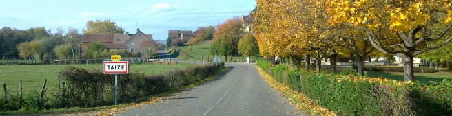 Entering Taizé village