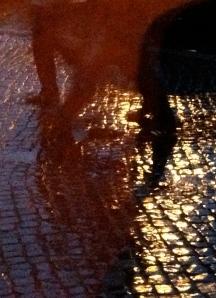 Wet cobbles at night, Weimar