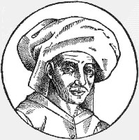 1611 woodcut of Josquin des Prez, copied from a now-lost oil painting done during his lifetime. Source: Wikimedia commons