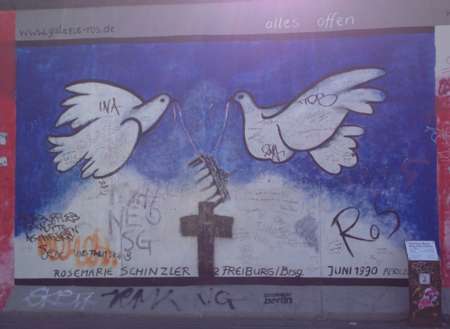 A prayer for peace, graffiti on the Berlin Wall