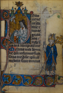 Psalm 6 incipit in The Maastricht Hours, 14th C., in which the penitential psalms are grouped