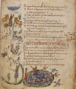 Beasts, birds and fishes; illustraded page of Theodore Psalter, British Library AddMS 19352
