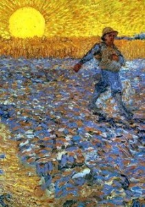 Sower with setting sun, Van Gogh 1888. Rijksmuseum, Netherlands. wikiart.org