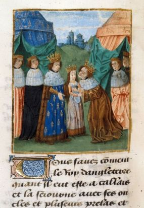 Detail of a miniature of Richard II, king of England (1377-1399), receiving his bride, the princess Isabel, from her father, Charles VI, king of France: Jean Froissart, Chroniques, (Bruges), c. 1480-1494, Royal 14 D. vi, f. 268v British Library