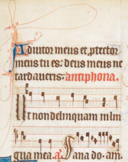 Antiphon for Psalm 39(40) in psalter early 1300s; BL MS Arundel 83.