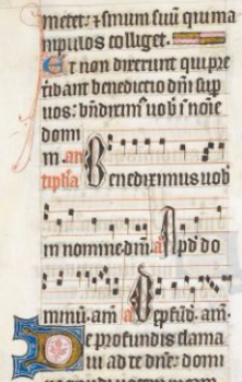 Antiphon to Ps. 129 in the howard Psalter, BL Arundel MS 83, 14th c.