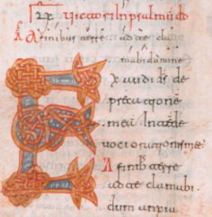 Capital 'E'(xaudi) of Ps. 61 in a Mozarbic psalter, 11C Spain BL MS30851.